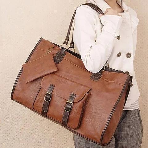 Vintage Women PU Leather Large Bags Shoulder Handbag Travel Tote Bags