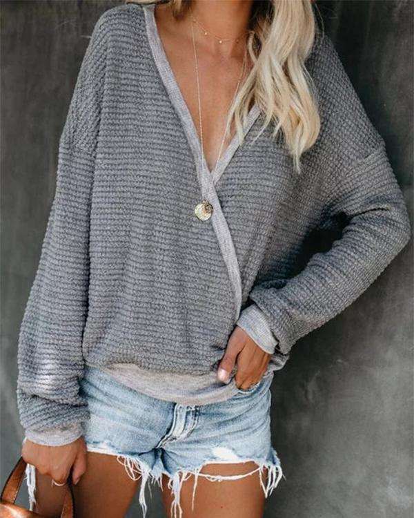 Grey V Neck Knitted Solid Casual Shirts & Tops