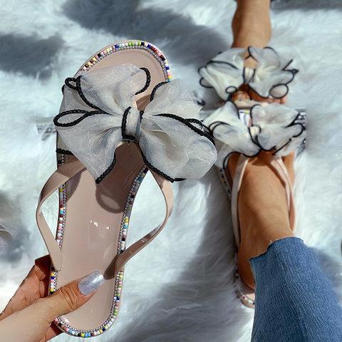Colored Rhinestone Bow Ribbon Flip Flops Sandals