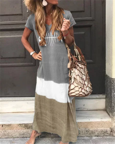 Printed Short Sleeve V Neck Bohemian Plus Size Maxi Dress