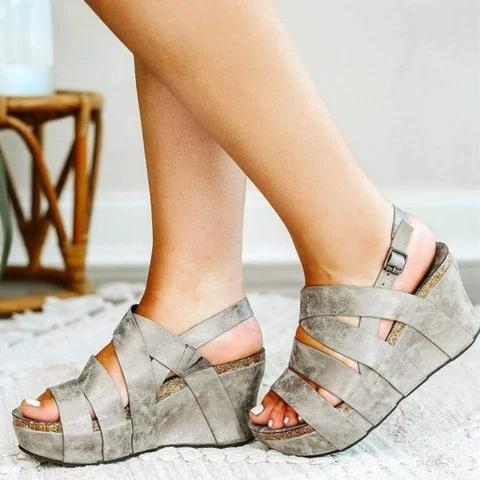 Gray Leather Daily Summer Sandals