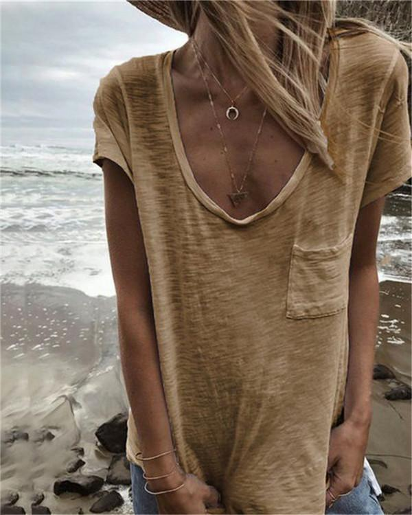 V Neck Casual Pocket Tops Beach Summer Women Holiday Daily Blouse