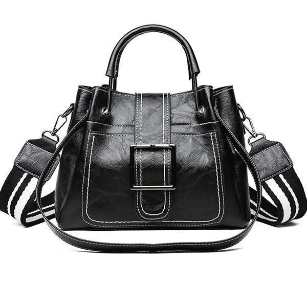 Large Capacity Retro Buckle Bucket Shoulder Bag