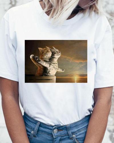 Hot Sale Summer Trend Style Cute Print Cat Clothes Vintage Shirt