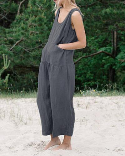 Summer Casual Plus Size Sleeveless Solid Jumpsuit