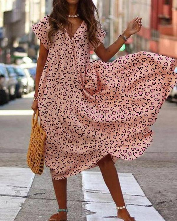 Pink Holiday A-Line Printed Dresses