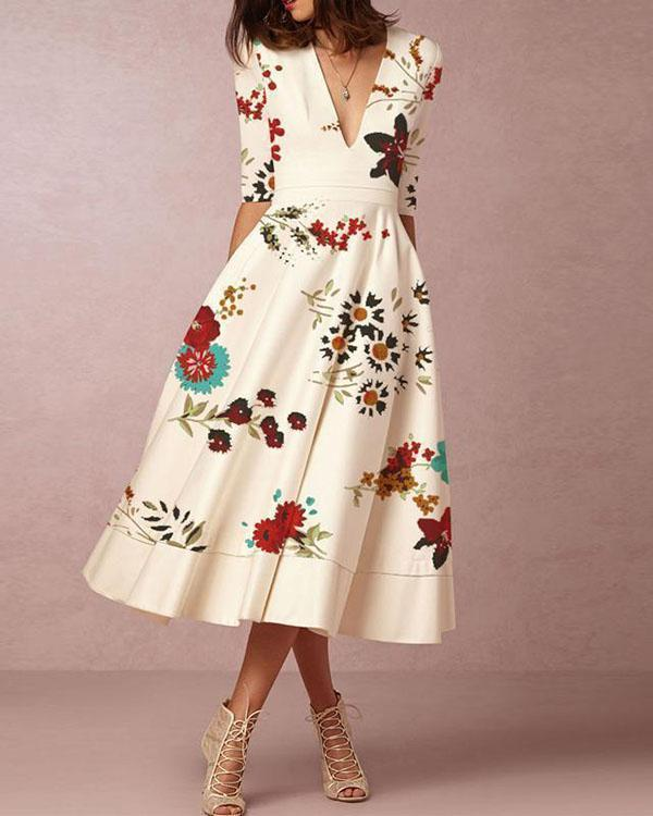 Printed Elegant Women Fashion Dresses