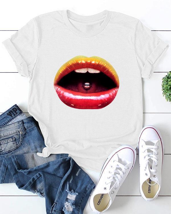 Basic Short Sleeve Graphic Print Casual Cotton T-shirt
