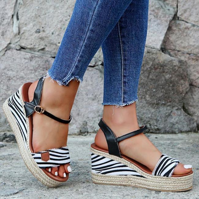 Women Open Toe Color Block Platform Wedge Sandals
