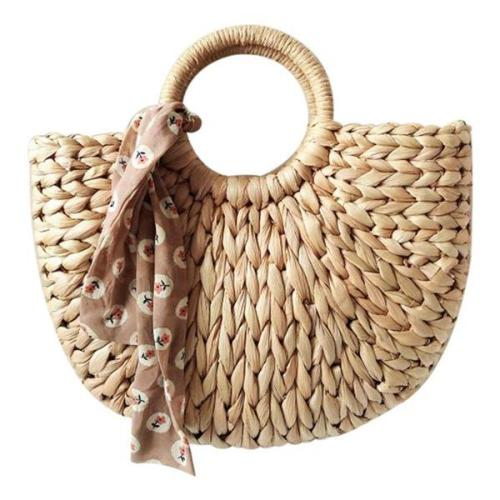 Half Moon Straw Beach Handbag
