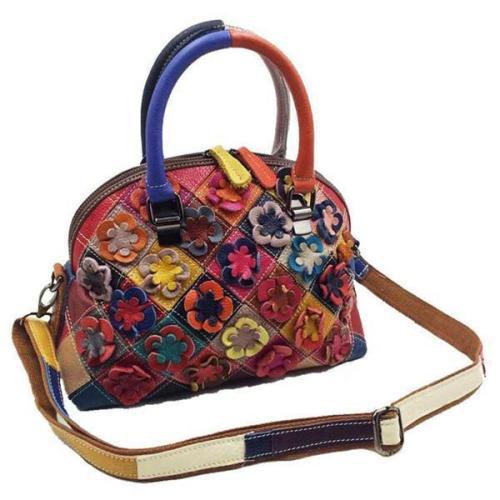 Bohemian Floral Shell Handbag Genuine Leather Patchwork Crossbody Bag