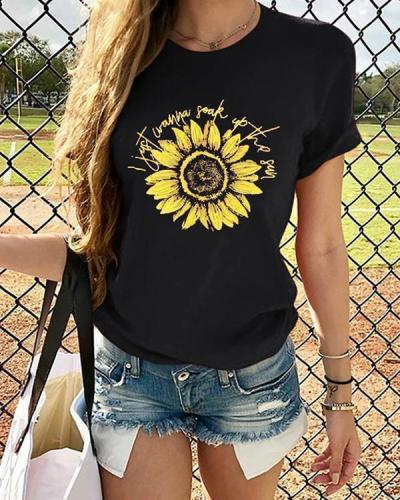 Sunflower Printed Daily T Shirt Summer Tee