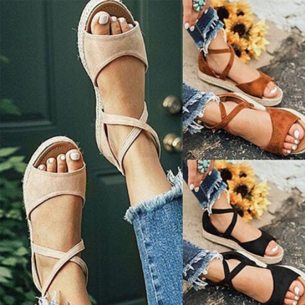 Large Size Women Fashion Flat Heel Strap Flats Sandals Lace-up Shoes
