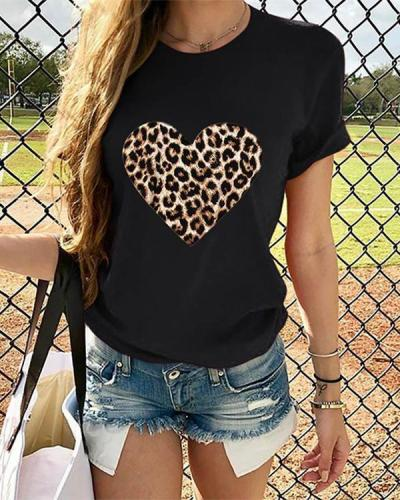 Leopard Heart Women Short Sleeve Shirt Printed Tops