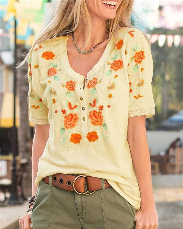Irregular Floral Printed  Fashion LooseTops Holiday Fall Daily Casual Blouse