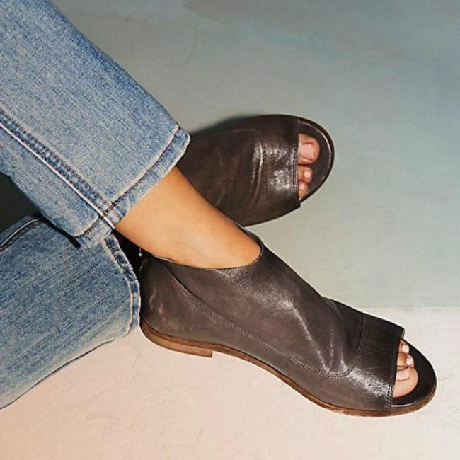 Women Peep Toe Sandals Casual Comfort Zipper Shoes