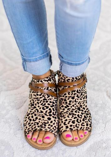 Leopard Casual Summer Leather Zipper Sandals