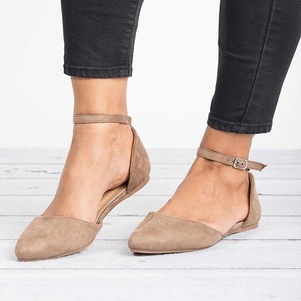 Comfy Pointed Toe Flats Ankle Strap Flat Heel Sandals