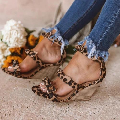 Women Casual Bowknot Stripe Wedge Sandals