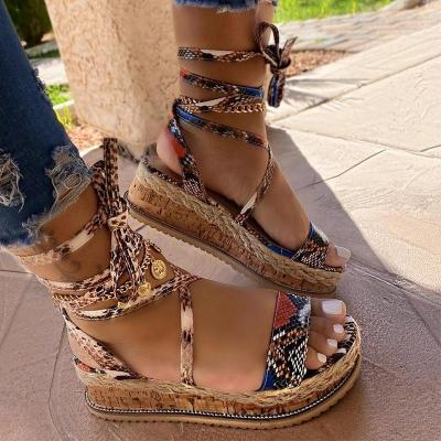 Women Large Size Lace-up Straw Sandals