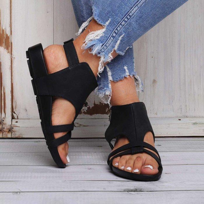 Large Size Women Summer Flat Heel Peep Toe Casual Adjustable Buckle Sandals