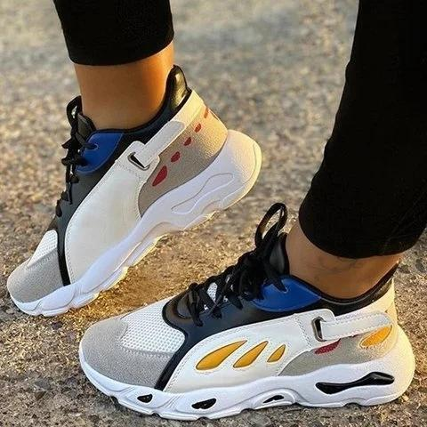 Women Comfy Lace-Up Block Sneakers