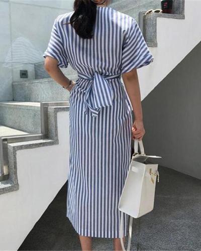 Elegant Stripe Short Sleeve Front Split Dress