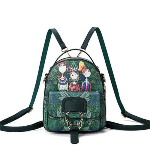 Bohemian Forest Cartoon Pattern Backpack Female Crossbody Bag