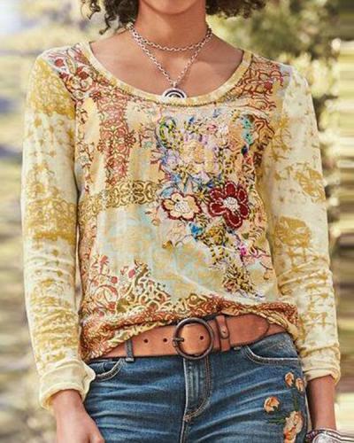 Women Long Sleeve Boho Printed Shirt Plus Size Tops