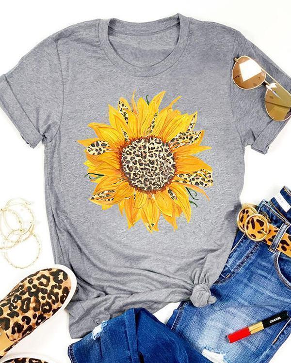 Sunflower Leopard Printed T-Shirt Tee
