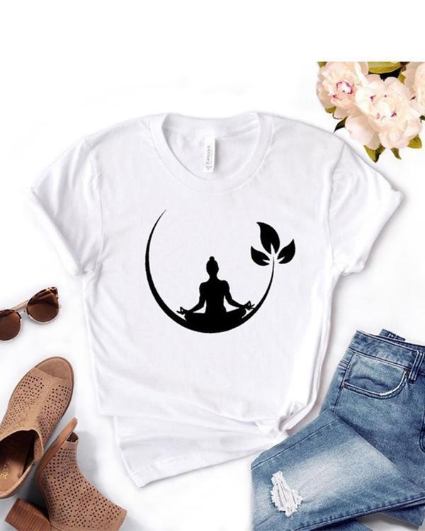 Plus Size Women Summer Tee Shirt Cotton Round Neck Print T-shirts Tops