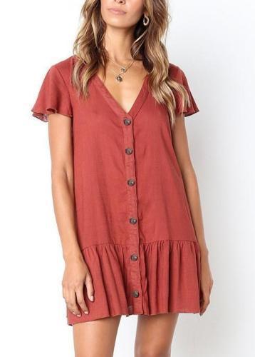 V Neck Single Breasted Plain Short Sleeve Casual Mini Dresses