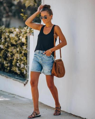 Ripped Hole Denim Shorts