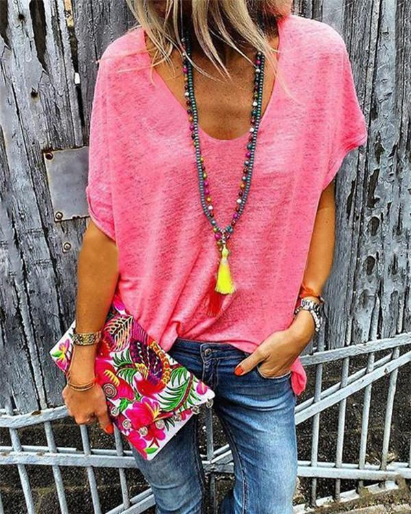 Casual Women Solid V Neck Loose Tops