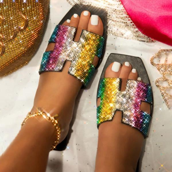 Women's square bottom rhinestone outdoor sandals and slippers