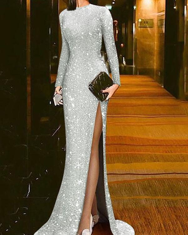 Elegant Bling Maxi Evening Dress