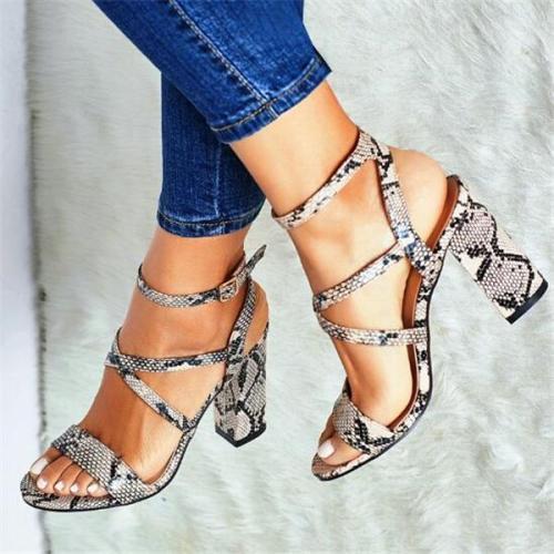 Cross Strap Roman Block Heeled Sandals
