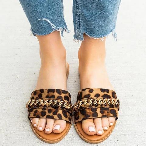 Women Flat Heel Casual Slides PU Plus Size Slippers