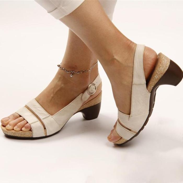 Women Elegant Chunky Heels Slingback Comfy Sandals