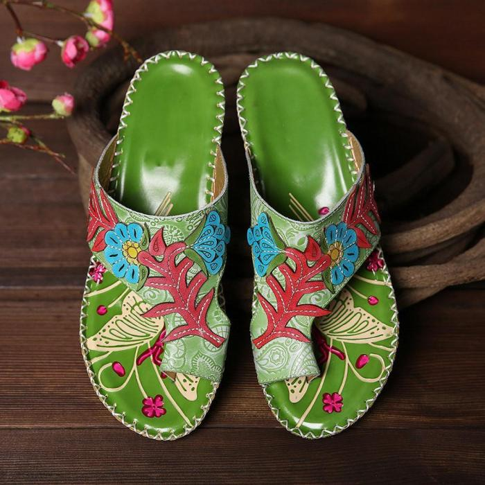 Bohemia Pattern Handmade Stitching Clip Toe Forest Sandals