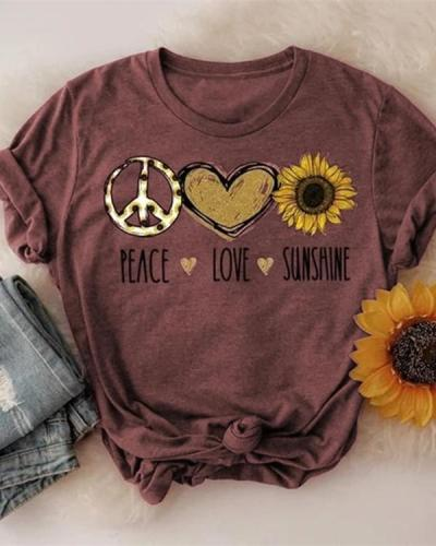 Women Peace Love Sunshine Fashion Summer T-shirts
