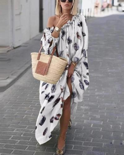 Long Sleeve Off Shoulder Holiday Daily Bohemian Maxi Dresses