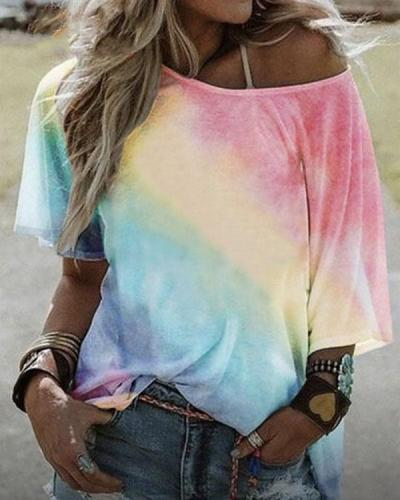 Gradient Printed Loose Bat Sleeve T-shirt