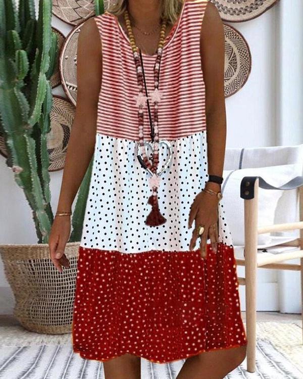 Women's Striped Polka Dot Gradient Stitching Sleeveless V-neck Dress
