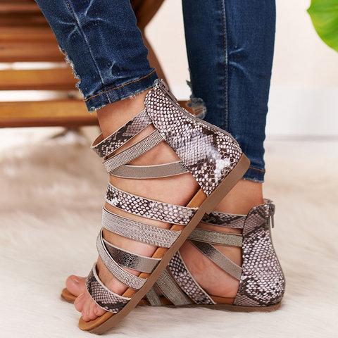 Women Plus Size Flat Heel Zipper Open Toe Gladiator Sandals