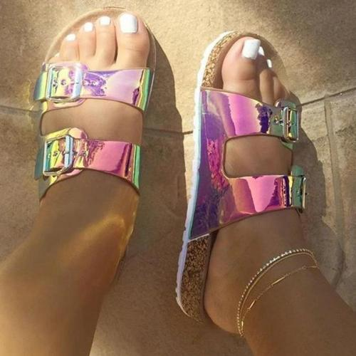Candy Color Slip-On Flip Flop Flat With Slippers