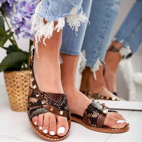 Black Leather Summer Sandals