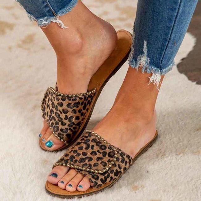 Leopard Flat Heel Summer Slippers