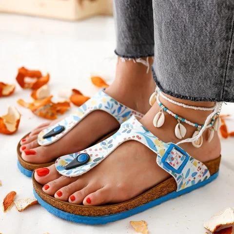 Flat Heel Button Slippers