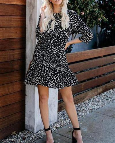 Spring Women Leopard Printed  Mini Dresses